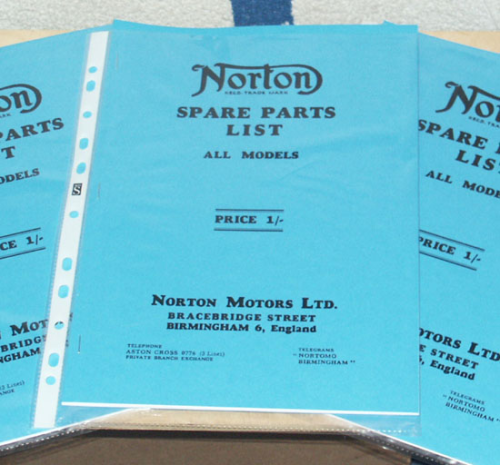 Norton 1934 Spare Parts List : All Single Cylinder Models - A4 (large) Facsimile