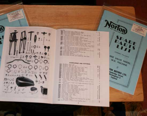 Norton 1939 WD 16H Spare Parts List - A4 (Large) Facsimile