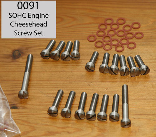 SOHC Engine - Complete (Norton type) Cheesehead SS Bar-turned Screw Set
