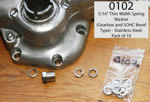 "Thin Width Gearbox/SOHC Bevel Stud Spring Washers (Stainless Steel) - 5/16"" (per 10)"