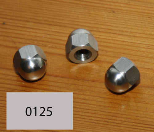 "Manx Bolt-thru Petrol Tank - 5/16"" BSC Domed Nuts: Stainless Steel Polished"