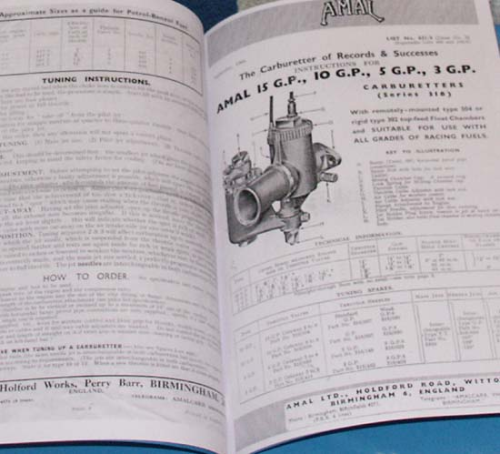 Specification and Setup Sheets for Amal TT and GP Carburetters - Facsimile