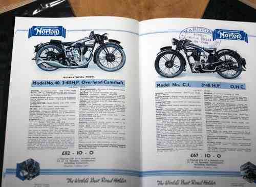 Norton 1934 'The Roadholder' Sales Catalog - Colour Facsimile