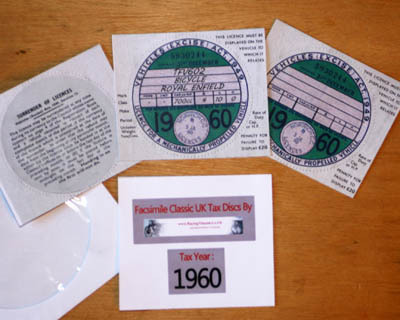 Facsimile Personalised Tax Disc - 1960