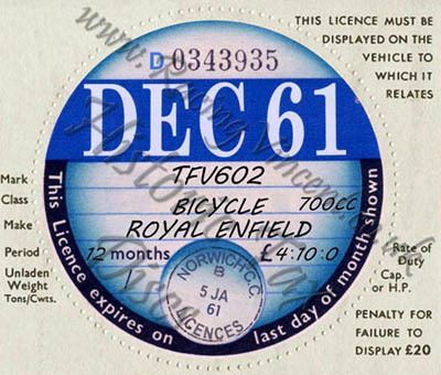 Facsimile Personalised Tax Disc - 1961