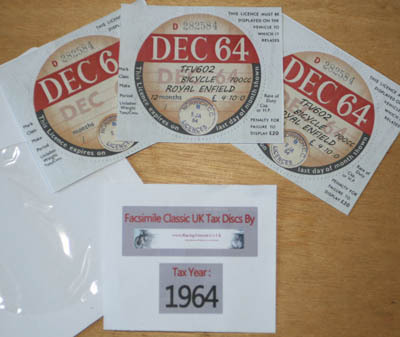 Facsimile Personalised Tax Disc - 1964