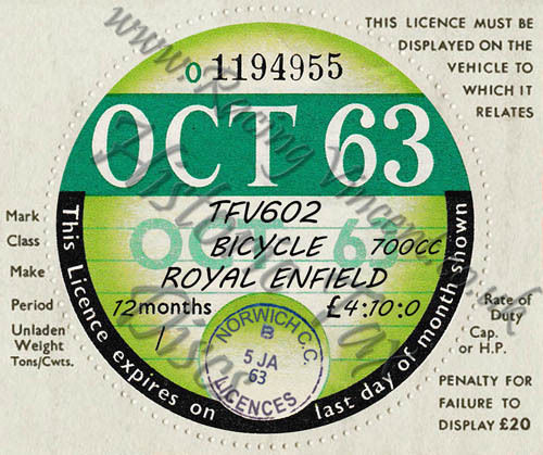 Facsimile Personalised Tax Disc - 1963