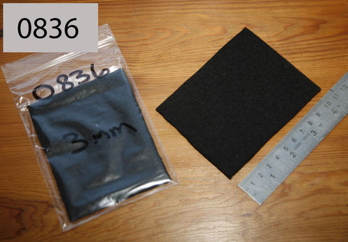 Felt Wool Gasket/Seal Material - 3mm Black Wool - 100mm x 80xmm Patch