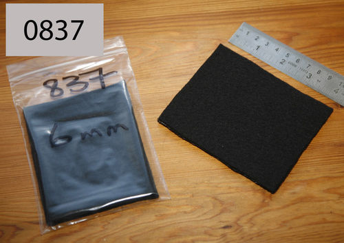 Felt Wool Gasket/Seal Material - 6mm Black Wool - 100mm x 80xmm Patch