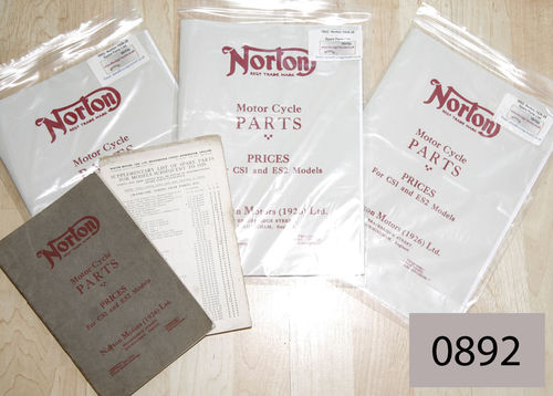Norton 1928-29 Spare Parts List : CS1 (SOHC) and ES2 (With All Models Supplement) - A4 Facsimile