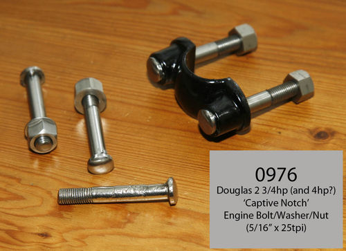 "Douglas 2 3/4hp - Engine Mount Bolt/Nut/Washer - 5/16"" x 25 TPI Roundhead Type (Stainless Steel)"