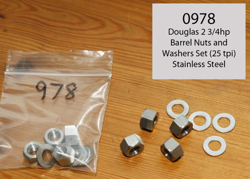 "Douglas 2 3/4hp - Engine Barrel Base Nuts/Washer Kit (4 of each) - 5/16"" x 25 TPI Thread (St Steel)"