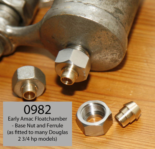 Douglas 2 3/4hp - Original Amac Carburettor Float Chamber Bottom Nut and Brass Ferrule (Pair)