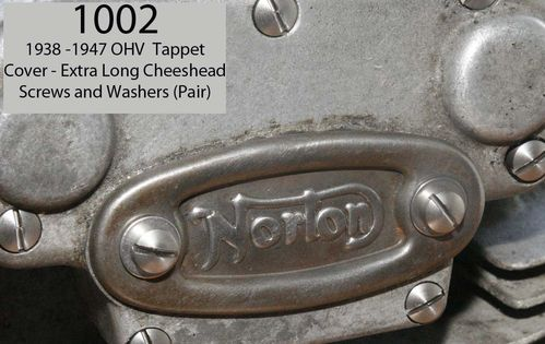 1938-47 OHV Engine -Tappet Cover (Norton type) Cheesehead Screws/Washers Set (Stainless Steel)