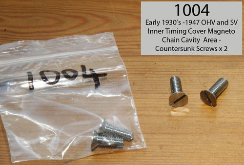 Pre-War (early 1930's) to 1947 OHV/SV - Countersink Screws for Magneto Chain Area (SS) - Pair